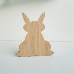 18mm Oak Veneer Freestanding Bunny Rabbit With Ears Up Easter