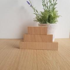 19MM OAK VENEER 3 TIER SEPARATE BLOCK SET       (40mm high x 100mm, 150mm, 200mm) Wooden Blocks, Tea Lights and Stacking Block Sets
