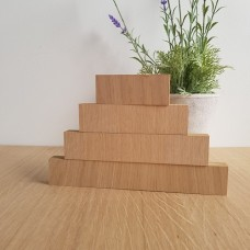 19MM OAK VENEER 4 TIER SEPARATE BLOCKS SET       (40mm high x 100mm, 150mm, 200mm, 250mm) Wooden Blocks, Tea Lights and Stacking Block Sets