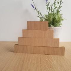 19MM OAK VENEER 4 TIER SEPARATE BLOCKS SET       (40mm high x 100mm, 150mm, 200mm, 250mm) Wooden Blocks, Tea Lights and Stacking Block Sets