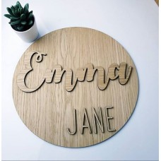4mm OAK Veneer Circle Double Name Room & Door Plaques