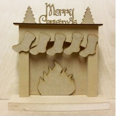18mm Christmas fireplace with hanging stockings - 'Merry Christmas (With Trees)' 18mm MDF Christmas