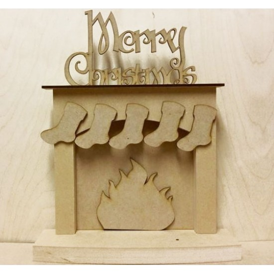 18mm Christmas fireplace with hanging stockings - 'Merry Christmas' 18mm MDF Christmas