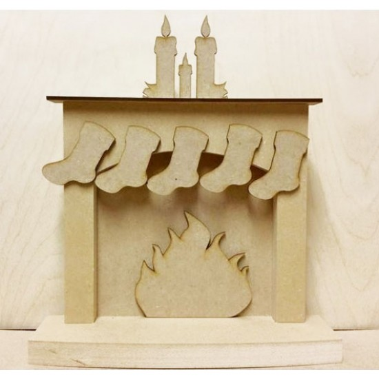 18mm Christmas fireplace with hanging stockings - 'Candles' 18mm MDF Christmas