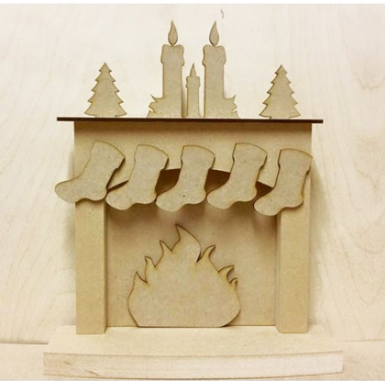 18mm Christmas fireplace with hanging stockings - 'Candles (With Trees)' 18mm MDF Christmas