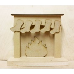 18mm Christmas fireplace with hanging stockings - 'Plain' 18mm MDF Christmas