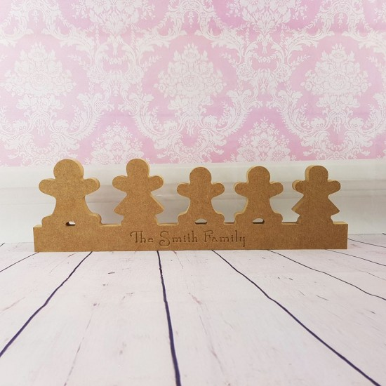 18mm  Engraved Gingerbread Family Christmas Shapes
