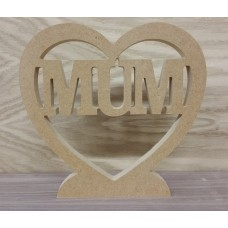 18mm Heart with Mum cut out Mother's Day