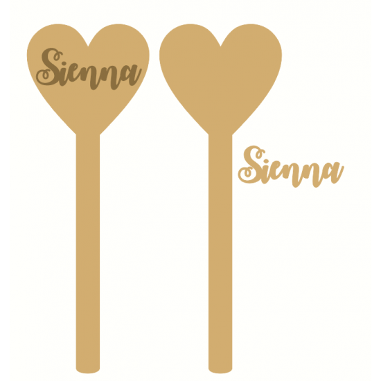 18mm Mdf Heart Wand Personalised and Bespoke