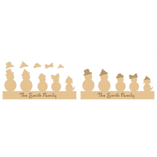 18mm  Engraved Snowmen Family Christmas Shapes