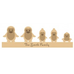 18mm  Engraved Penguin Family Christmas Shapes