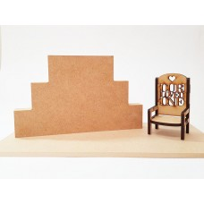 3 Tier MDF Joined Block Set (40mm high x 100mm, 150mm, 200mm) With 6mm Base and Chair Wooden Blocks, Tea Lights and Stacking Block Sets