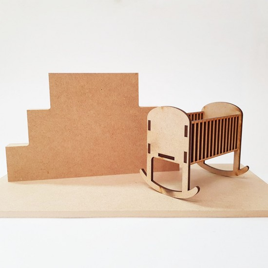 3 Tier MDF Joined Block Set (40mm high x 100mm, 150mm, 200mm) With 6mm Base and Crib Wooden Blocks, Tea Lights and Stacking Block Sets