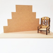 4 Tier MDF Joined Block Set (40mm high x 100mm, 150mm, 200mm, 250mm) With 6mm Base and 4mm Small Chair Wooden Blocks, Tea Lights and Stacking Block Sets