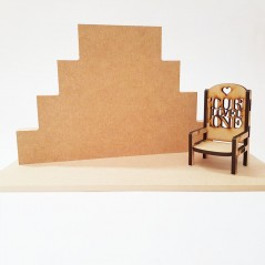 4 Tier MDF Joined Block Set (40mm high x 100mm, 150mm, 200mm, 250mm) With 6mm Base and Chair