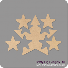 18mm Freestanding Star With 4 Interlocking Stars 18mm MDF Interlocking Craft Shapes