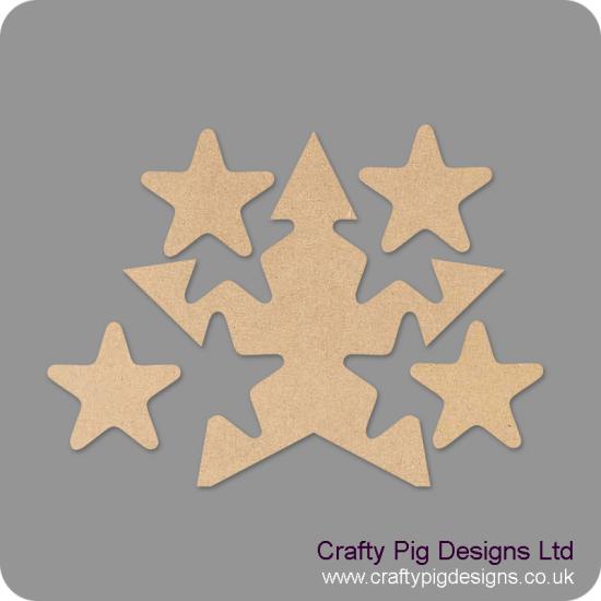 18mm Freestanding Star With 4 Interlocking Stars 18mm MDF Interlocking Craft Shapes