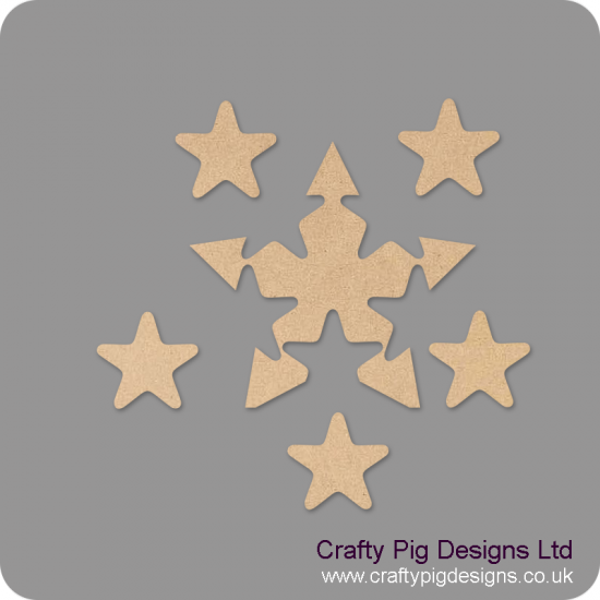 18mm Freestanding Star With 5 Interlocking Stars 18mm MDF Interlocking Craft Shapes