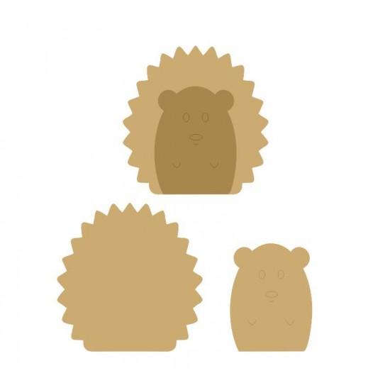 18mm 3D Hedgehog (200mm) 18mm MDF Animal Shapes 3D and Engraved