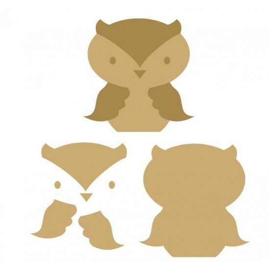 18mm 3D Owl (200mm) 18mm MDF Animal Shapes 3D and Engraved