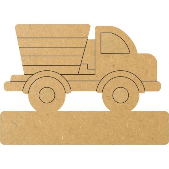 18mm Engraved Dump Truck On Base 18mm MDF Engraved Craft Shapes