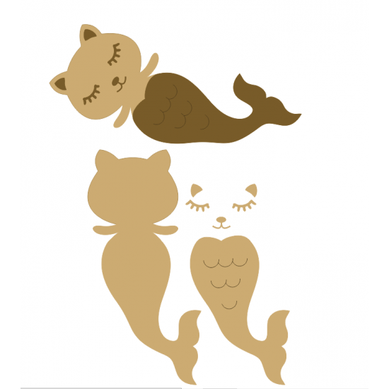 18mm 3D Purrmaid (200mm wide) 18mm MDF Animal Shapes 3D and Engraved