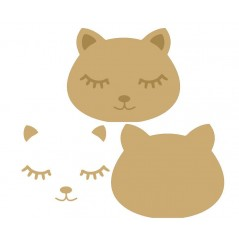 18mm 3D Cat Head (200mm wide) 18mm MDF Animal Shapes 3D and Engraved