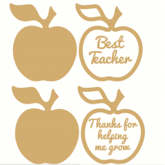 18mm Freestanding  Apple - 3mm Stick on wording Teachers