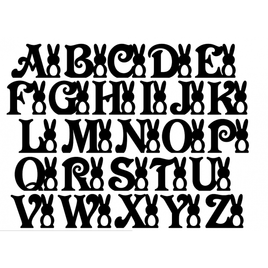 18mm Victorian Font Letter with Tall Bunny and Egg Cut  Out Easter