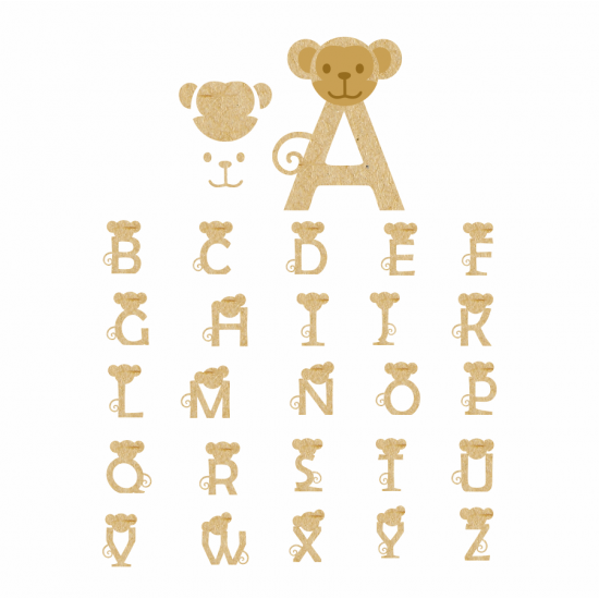 18mm 3D Monkey Letters 18mm MDF Letters and Numbers