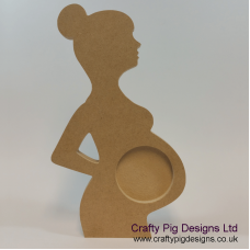 18mm  Bump Scan With Circular Picture Cut Out (With Bun) 18mm MDF Craft Shapes