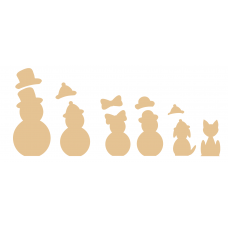 18mm Individual Snowmen Shape with separate hats 18mm MDF Christmas