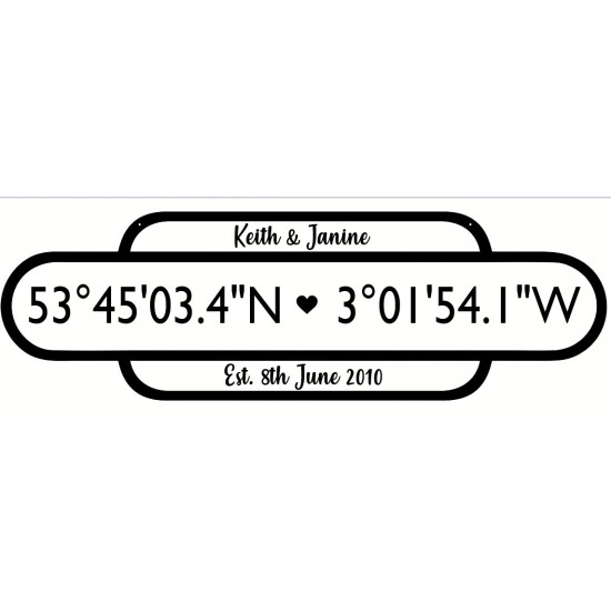 18mm Large 3 Row Coordinates Sign (Railway Sign)  (Upper and Lowercase now available type how you want it to appear on sign) Personalised and Bespoke