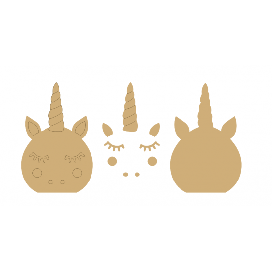 18mm 3D Rounded Unicorn Head with 3mm flowers, horn and cheeks (200mm) 18mm MDF Craft Shapes