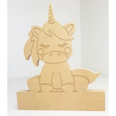 18mm Engraved Sitting Unicorn on Blank Base For Vinyl  18mm MDF Craft Shapes