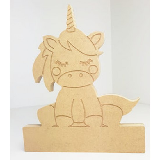 18mm Engraved Sitting Unicorn on Blank Base For Vinyl  18mm MDF Craft Shapes