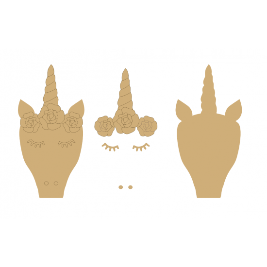 18mm Natural Unicorn Head with 3mm flowers, horn and cheeks (200mm) 18mm MDF Craft Shapes