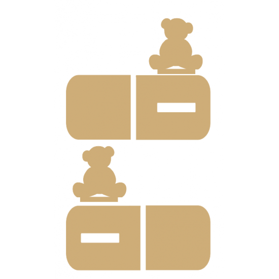 18mm Teddy Bear Bookend Set 18mm MDF Bookends