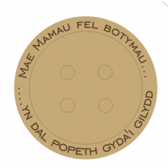 18mm Engraved Button - Welsh Wording Mother's Day