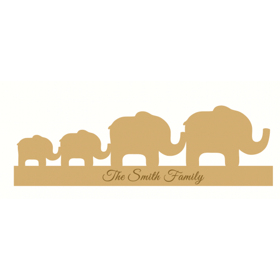 18mm Engraved Elephant Family Christmas Shapes