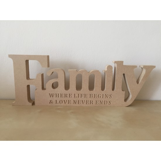 18mm MDF Engraved Family Block (Where Life Begins and Love Never Ends) 18mm MDF Signs & Quotes