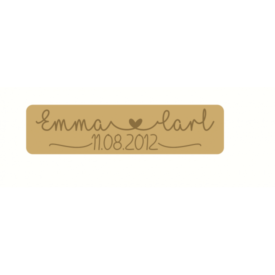 18mm Engraved Double Line Name and Date Block Personalised and Bespoke