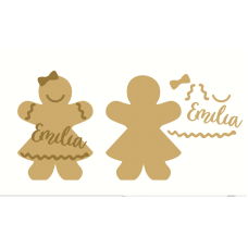 18mm Freestanding Gingerbread Girl with stick on name and detail 18mm MDF Christmas