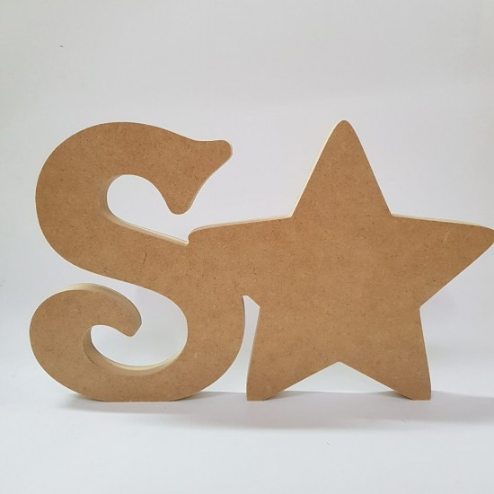 18mm Freestanding Star and Letter 18mm MDF Craft Shapes