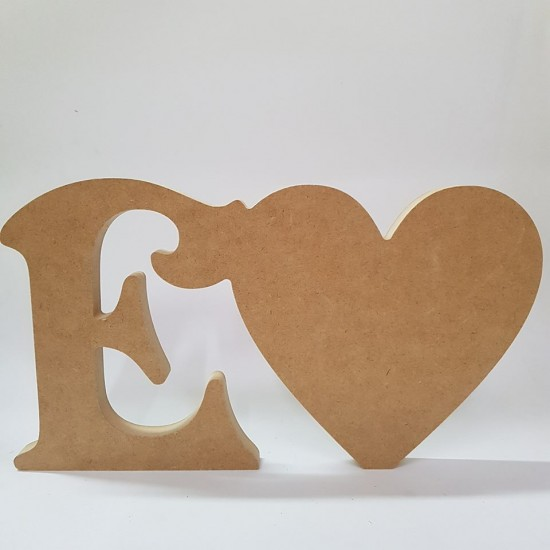 18mm Freestanding Heart and Letter 18mm MDF Craft Shapes