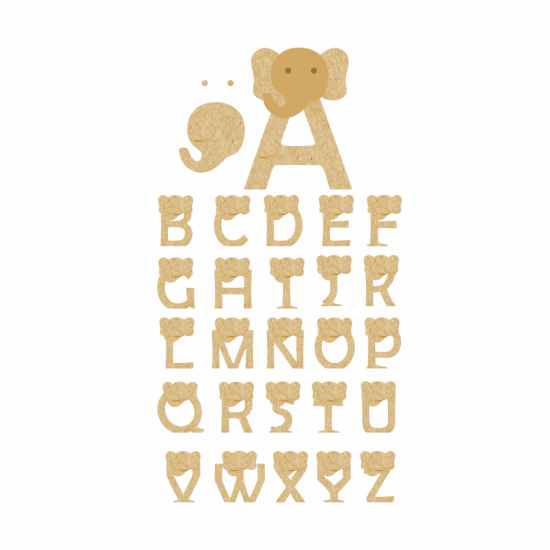 18mm 3D Elephant Letters 18mm MDF Letters and Numbers