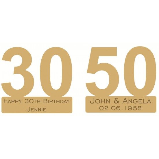 18mm Freestanding Joined Numbers with engraved base 18mm MDF Letters and Numbers