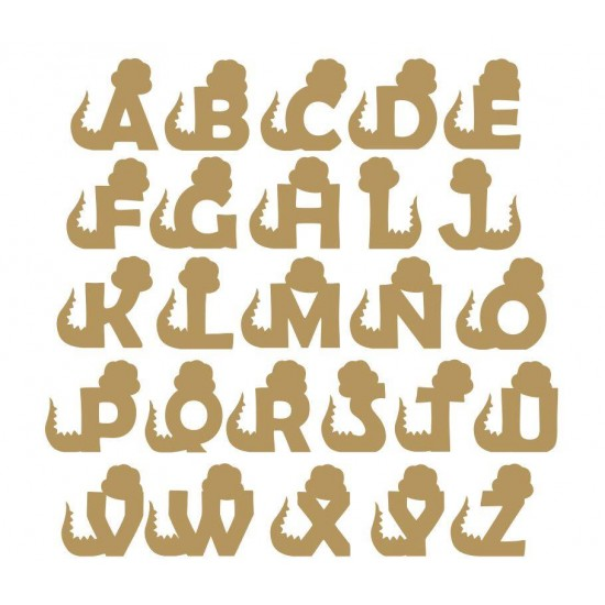 6mm mdf Dinosaur Letters (front facing) 3, 4 and 6mm Letters & Numbers