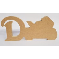 18mm Freestanding Motorbike and Letter 18mm MDF Craft Shapes