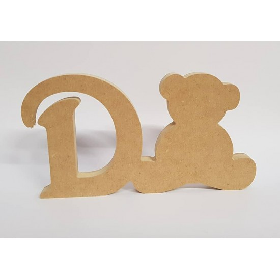 18mm Freestanding Bear and Letter 18mm MDF Craft Shapes